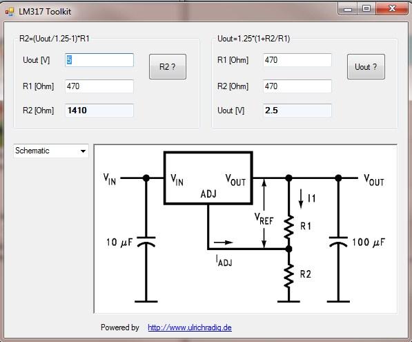 نرم افزار محاسبه رگولاتور LM317