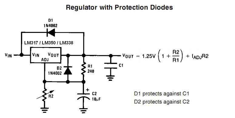 مدار کنترل ولتاژ توسط LM317
