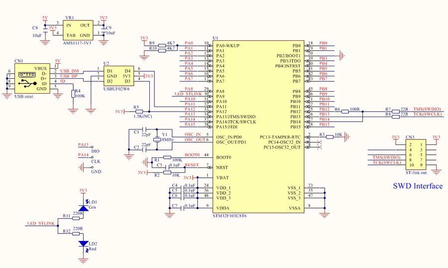 شماتیک پروگرامر ST LINK