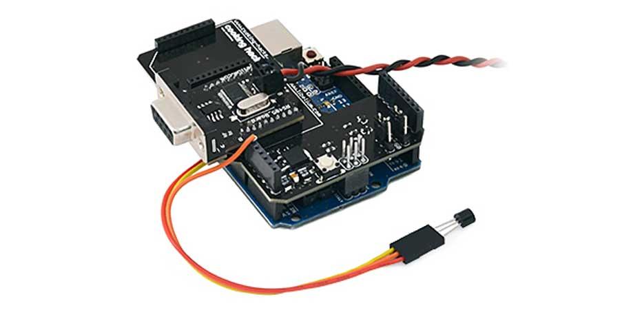 سنسور دما و برد آزدوینو و شیلد RS 485