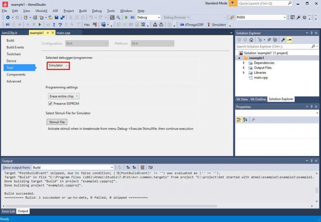 پنجره نرم افزار Atmel Studio