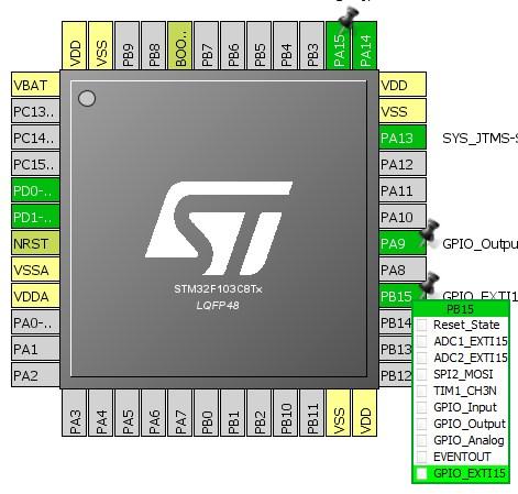انتخاب GPIO_EXTI در محیط نرمافزاری STM32CubeMX