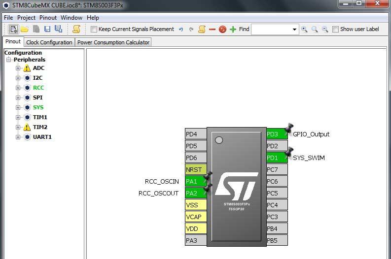 محیط نرمافزار STM8CubeMX