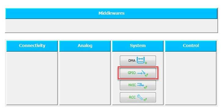 انتخاب GPIO در صفحه Configuration در نرمافزار CubeMX
