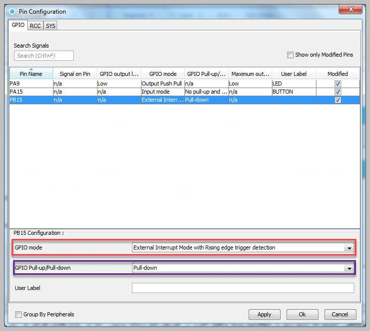 تنظیمات GPIO در صفحه Configuration در نرمافزار STM32 CubeMX