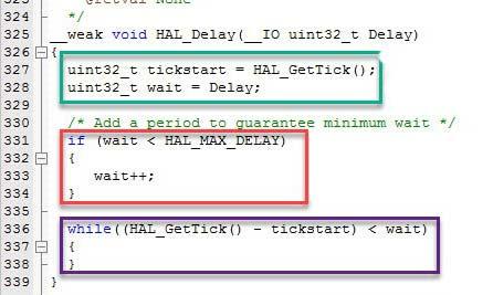 محتوای تابع Delay در کتابخانه HAL میکروکنترلر STM32