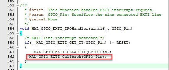 تابع وقفه خارجی در برگه stm32f1xx_it.c