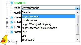 تنظیمات رابط سریال UART1
