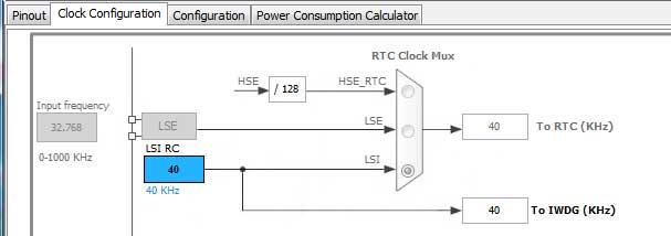 صفحه Clock Configuration