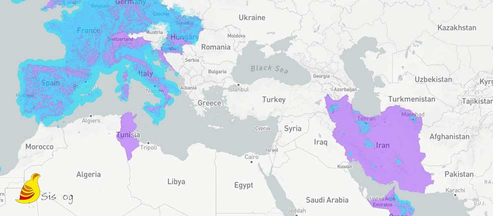 ضریب نفوذ شبکه Sigfox در جهان و ایران