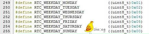 تنظیمات روز هفته در میکروکنترلر STM32