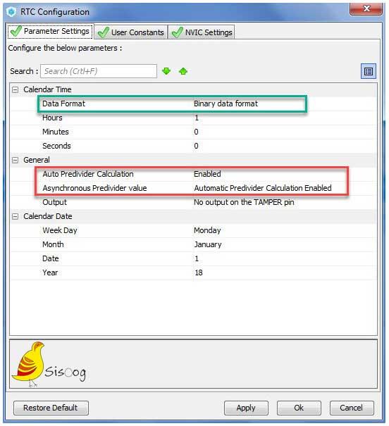 تنظیمات RTC برای میکروکنترلر STM32