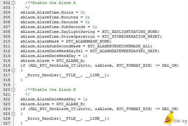 تنظیمات مربوط به آلارم A و B