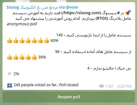رای گیری در کانال تلگرام سیسوگ