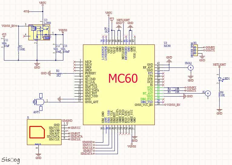 دانلود شماتیک مدار GSM Modem کویکتل MC60