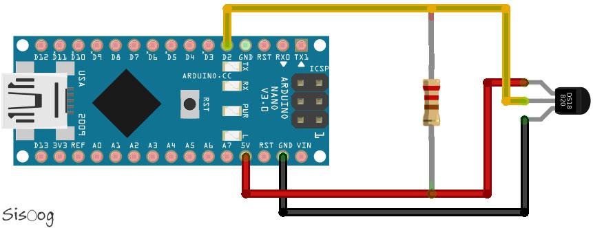 شماتیک سنسور دما DS18b20