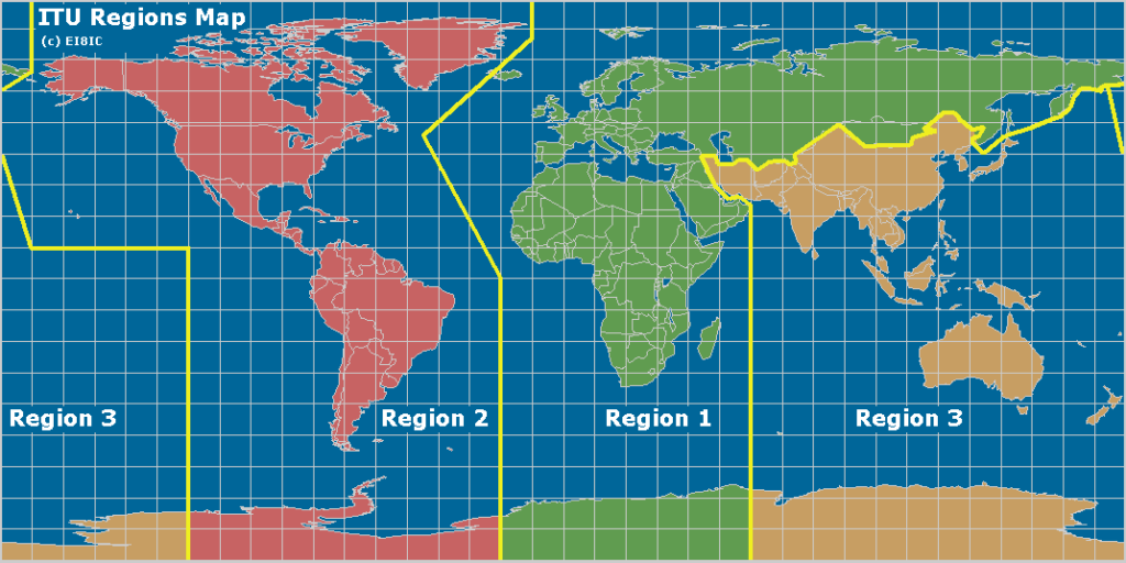 تقسیم بندی سه گانه ITU که طبق آن ایران در ناحیه سوم قرار دارد.