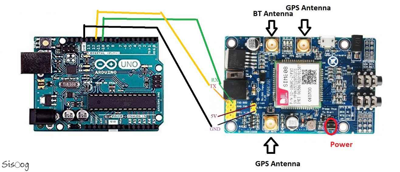 نحوه اتصال SIM808 به آردوینو