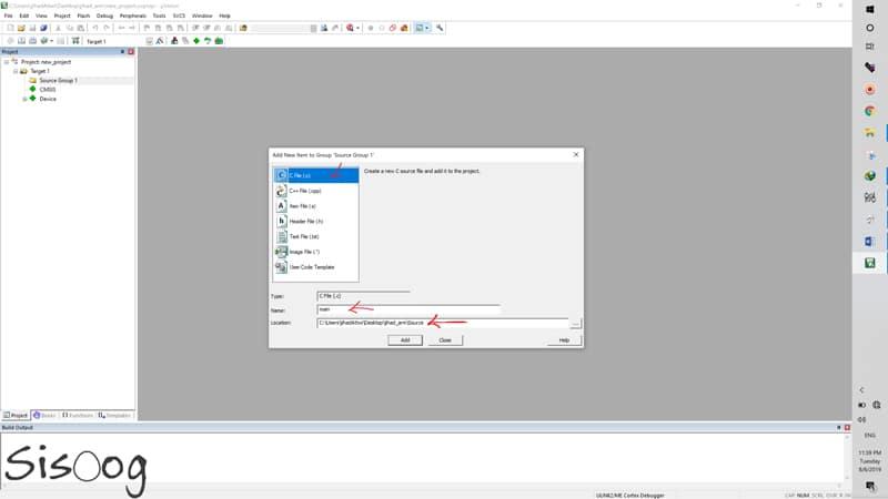 اضافه کردن فایل main به پروژه در کیل
