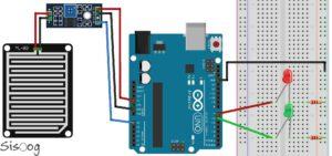 شماتیک راهاندازی سنسور تشخیص باران