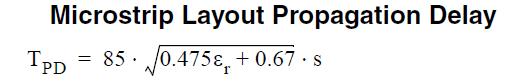 معادله تاخیر انتشار مربوط به میکرواستریپ