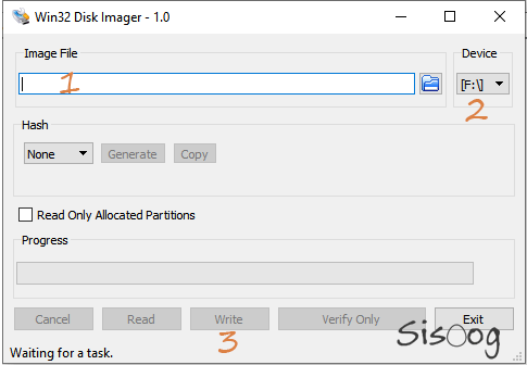 محیط نرم افزار Win32 Disk Imager
