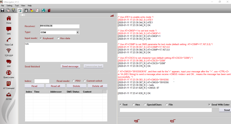 ارسال پیامک با کویکتل mc60 و نرم افزار QNavigator