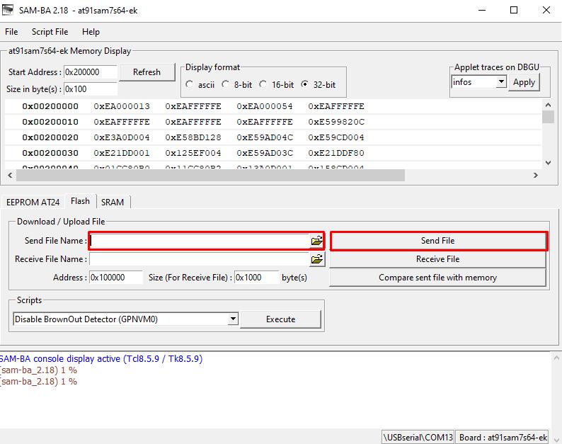 سریال فریمور J-Link در نرمافزار SAM-BA
