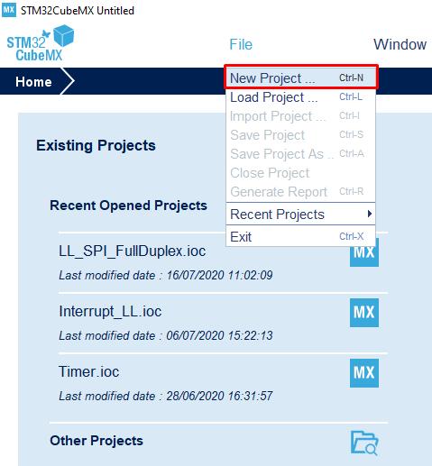 ایجاد پروژه در نرمافزار STM32CubeMX