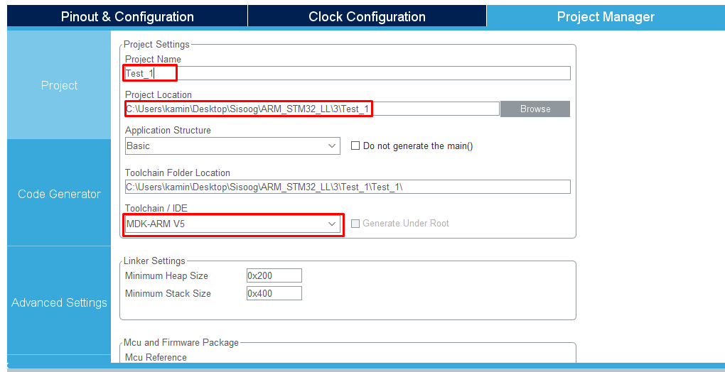 تنظیمات پروژه در نرمافزار STM32CubeMX